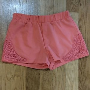 Small silky shorts with embroider detail